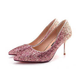 women shoes 2018 new high heels sexy 34-39 SPrincess fine with sequins silver high-heeled fashion shoes wedding shoes women