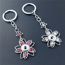 Porte-clés en gros fleur à vendre-PinkWhite Mix Smart Rhinestone Five Petaled Flower Keyrings Noosa Chunks Metal Ginger 12mm Snap Buttons Key Chains Jewelry Wholesale