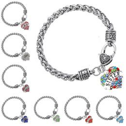 58 TYPE Diamond Crystal Heart Bracelets Family Love Aunt Best Friend MOM GRANDMA Believe Heart Charm Antique Silver Chain for Women 161958