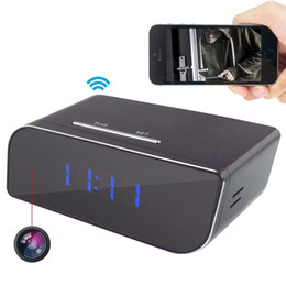 Acheter en ligne Caméscopes mini--1080P WIFI Network Hidden Camera Clock Détection de mouvement Enregistreur vidéo Réveil mini DVR caméscope pour Android IOS APP Remote View