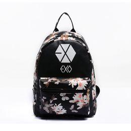 Women Leather EXO School Backpack Preppy Style Small Printing Travel Floral EXO Backpacks For Teenage Girls Bag mochila feminina