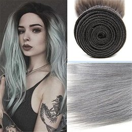 "Grade 8A Straight Ombre Brazilian Hair Weave Bundles 100% T1B Gray 12""-28"" Brazilian Virgin Human Hair Extensions Fast Shipping"