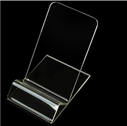 Wholesale Universal Acrylic Cell phone mobile phone Display Stands Holder stand For iphone samsung HTC Clear Transparent Hard PC Plastic Kickstand