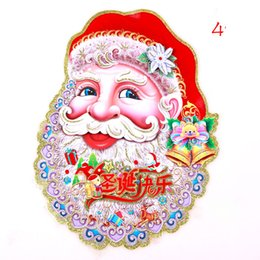 Wholesale Hot sale Christmas stickers Santa Claus picture pull cart Christmas tree stickers two style MYY01