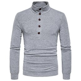 Free Shipping US Size S-2XL High Quality 2017 Autumn New Men's Personality Solid Color Collar Slim Pullover Sweater
