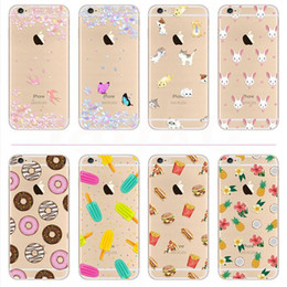 Wholesale For iPhone Case Clear Soft TPU Gel Case Transparent Skin Cover Fruit Flower Animal Bird Printed Case for iPhone s plus