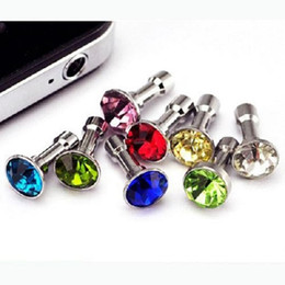 Luxury Phone Accessories Small Diamond Rhinestone 3.5mm Dust Plug Earphone Plug For Smart Phone Cell Phone Samsung HTC