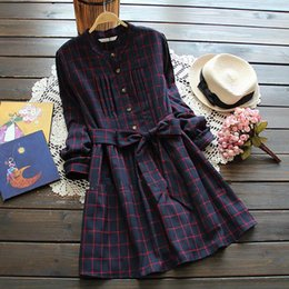 Japanese Style Mori Girl Vintage Plaid Shirt dresses Cute casaul vestidos Spring Autumn new women dress with belt