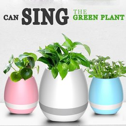 Touch Wireless Bluetooth Flowerpot Speaker with LED Multiple Colors Home Smart Plant Office Mp3 Music Player