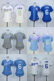Maillot femme # 6 Lorenzo Cain Maillot gris bleu pour femme Lady Baseball Kansas City Royals # 4 Alex Gordon Jersey lady city promotion à partir de dame ville fournisseurs