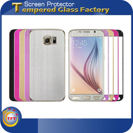 Wholesale 0 mm Colorful Tempered Glass Full Cover Titanium Alloy Aluminum Metal Explosion Proof Front Back Brushed Texture For Samsung Galaxy S6 G920