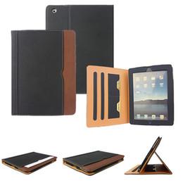 Air en cuir libre en Ligne-IPad6 Black Tan Portefeuille en cuir Porte Flip Case Smart Cover Avec des emplacements pour iPad Air 2 3 4 5 6 Pro 9.7 Air2 Mini Mini4 Livraison gratuite