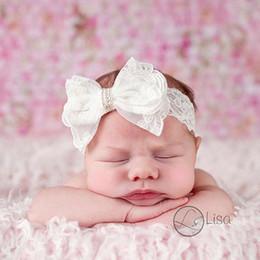 Descuento bandas para la cabeza de encaje blanco para bebés El pelo impreso floral de las cintas recién nacidas del arco de las vendas del cordón del bebé arquea los accesorios blancos puros infantiles del pelo de los cabritos de los pañuelos del Bowknot DHL libera DHL