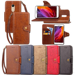 Wholesale Retro Wax Oil Mobile Leather Cover Case for xiaomi Note 4 4X Fashion Buckle Design Flip Leather Case