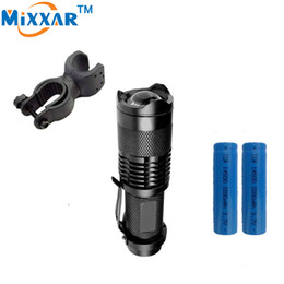 CREE Q5 Mini Bicycle Light 1000LM LED Flashlight LED Front Torch High Power Light Zoomable for Biking+1*Holder+2*Battery