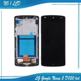 Promotion écran tactile google Wholesale- New Black pour LG Google Nexus 5 D820 D821 Numériseur à écran tactile + écran LCD Full Frame Assembly