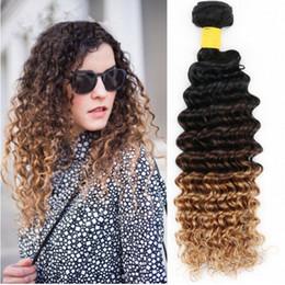 Acheter en ligne 27 bouclés ombre-Chameau blond Ombre Hair Three Tone 1B / 4/27 Brown Blonde Ombre Brazilian Deep Curly Wave Virgin Cheveux humains Extensions de tissus 3Pcs Lot