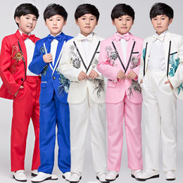Boys Wedding Suits 2016 Size 2-14 White Boy Suit Formal Party Five Sets Bow Tie Pants Vest Shirt Kids Suits Free Shipping In Stock