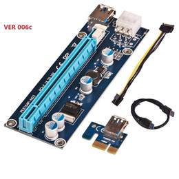 VER 006C 2017 New Best USB3.0 PCI-E PCI Express 1X to 16X Riser Card Adapter with Big 4Pin or 6Pin Connector Power Cable for Bitcoin Mining