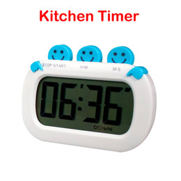 Wholesale Smile Face Shape Digital Kitchen Timer With Clock And Loud Alarm Countdown UP Digital LCD Timer Product Code