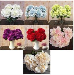 Mutli Color 5 Flower Heads Artificia Silk Fake Flower Bouquet Wedding Party Garden Floral Hydrangea FZH058