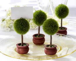 Fast Delivery Factory Directly Sale Wedding Favor Green Puffer Ball Topiary Photo Holder Place Card Holder Wholesale