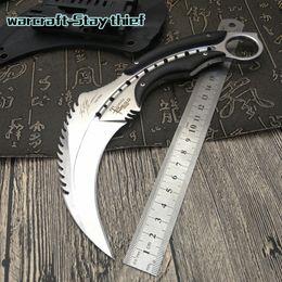 karambits Mirror light scorpion claw knife outdoor camping jungle survival battle karambit cs Fixed blade hunting knives self defense tool