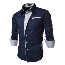 Wholesale Hot Selling Solid Men s Dress Shirts Slim Long Sleeve Single breasted Fashion Casual Clothing Men Trendy Shirts Tops M XL