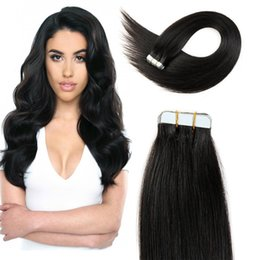 Brazilian Remy Straight Tape in Hair Extensions 8A Grade Human Hair 20pcs PU skin weft Unprocessed Human Hair Extensions Can Be Dyed
