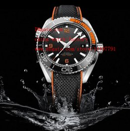 Wholesale Luxury High Quality Wristwatches Christmas Gift Orange mm Planet Ocean Co Axial Mechanical Transparent Automatic Mens Watch Watches