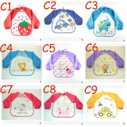 Wholesale Cute Cartoon Colorful Baby Bibs Long Sleeve Art Apron Animal Smock Children Bib Burp Clothes Soft Feeding Eat Toddle Waterproof TOP1542