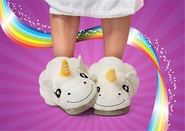 Wholesale 2016 Winter Warm Indoor Slippers Cute Cartoon Plush Unicorn Slippers for Grown Ups White Home Suppliers For Adults DHL