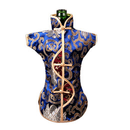 Wholesale Vintage Chinese Silk Brocade Pouch Wine Bottle Cover Dust Bag Home Party Table Decoration Ethnic Craft Bottle Packaging Bags