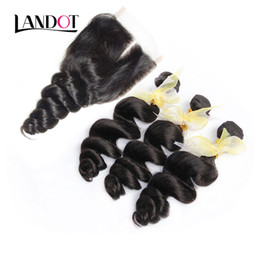 3 Bundles Indian Loose Wave Virgin Human Hair Weaves With Closure Unprocessed Indian Loose Deep Curly Hair And Lace Closure Free Middle Part