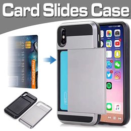 Slides Case Shockproof Defender Hard Armor Dual Layer Card Pocket Cover For iPhone XS Max XR X 8 7 6 Plus Samsung Note 9 S9 S8 S7 J3 J4 J6