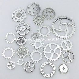 Wholesale 20669 Mixed Vintage Silver Alloy Whell Gear Pendant Craft Jewelry Findings