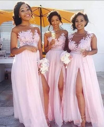 2018 Pink Long Bridesmaid Dresses Sheer Neck Short Sleeves Side Slit Chiffon Maid Of Honor Gowns Cheap Summer Beach Wedding Guest Dresses