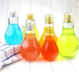 Wholesale Light Bulb Glass Beverage Milky Tea Fruit Juice Drink Bottle Cup With Lid Terrarium for Home Shop Tea with Milk Lamp Bulb Bottle
