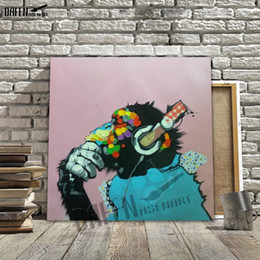 Gorilla Listening To The Music 100% Handmade Oil Painting On Canvas Funny Cartoon Animal Wall Art Unframed Living Room Decoration
