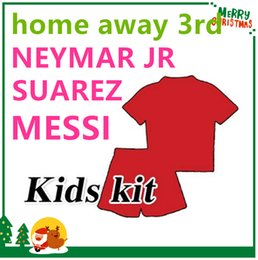 Wholesale 16 MESSI NEYMAR JR INIESTA PIQUE SUAREZ Children jersey Red Green Blue Purple futbol Sports shirts kids boy kit