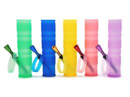Retail Wholesale 200MM Portable Unbreakable Bongs Shisha Hookah Silicone Smoking Water Pipes Washable Foldable Free Shipping
