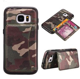 Wholesale Luxury Brand Camouflage Style Leather Flip Magnet Back Cover Case with Card Slot for Iphone s plus plus Samsung S6 S6 edge S7 S7 edge