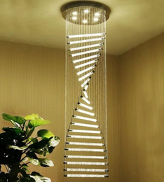 Wholesale K9 Crystal Stair Chandeliers GU10 LED Modern Spiral Art Deco Suspension Lighting Hotel Villa Long Hanging Lamp MYY