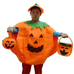 Wholesale Halloween Mascot Costumes Adults Kids Halloween Pumpkin Costume Hat Suit MC0354 Theme Uniform Overalls Cap Party Clothing Props
