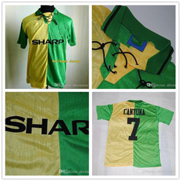 Wholesale _ MAN retro soccer jerseys away green Top thai AAA quality custom name number soccer uniforms football shirts