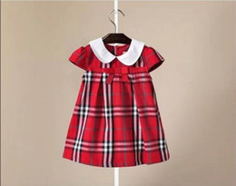 Wholesale 6 color hot selling Korean style new arrival girl summer cute plaid bowknot short sleeve Doll Collar skirt