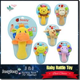 Wholesale infant baby toys lovely animal hand bell baby Rattles plush stuffed toy children mobiles sounding educational developmental ring handbell