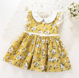 Wholesale Girls dresses summer new children beaded embroidered doll collar printed dress kids ruffle fly sleeve dress girls cotton clothes A0301