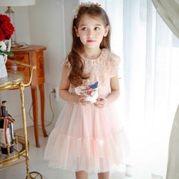 Sans manches en tulle filles habillées en Ligne-Everweekend Princess Girls Robe en dentelle en tulle Ruffles Décolleté Pink Holiday Party Dress Sweet Enfants Robes d'été