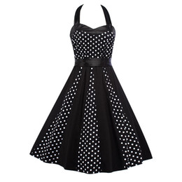 Vintage Fashion Womens 2017 Summer Sexy Black Classical Polka Dots Printed Halter Sleeveless Casual Party Evening Wiggle Swing Dresses